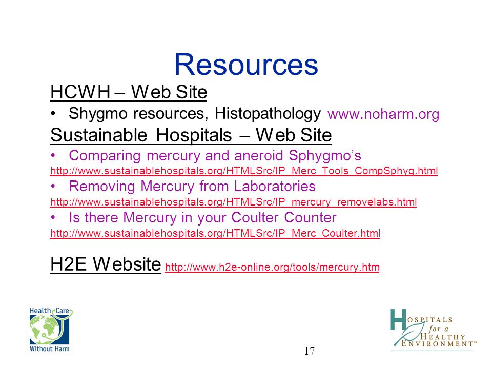 Resources HCWH – Web Site Sustainable Hospitals – Web Site