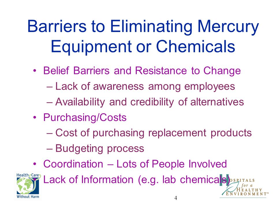 Barriers to Eliminating Mercury Equipment or Chemicals