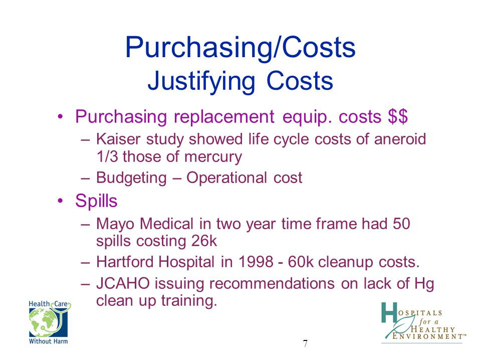 Purchasing/Costs Justifying Costs