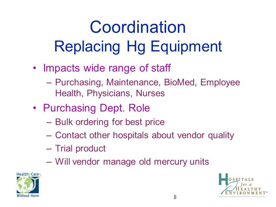 Coordination Replacing Hg Equipment