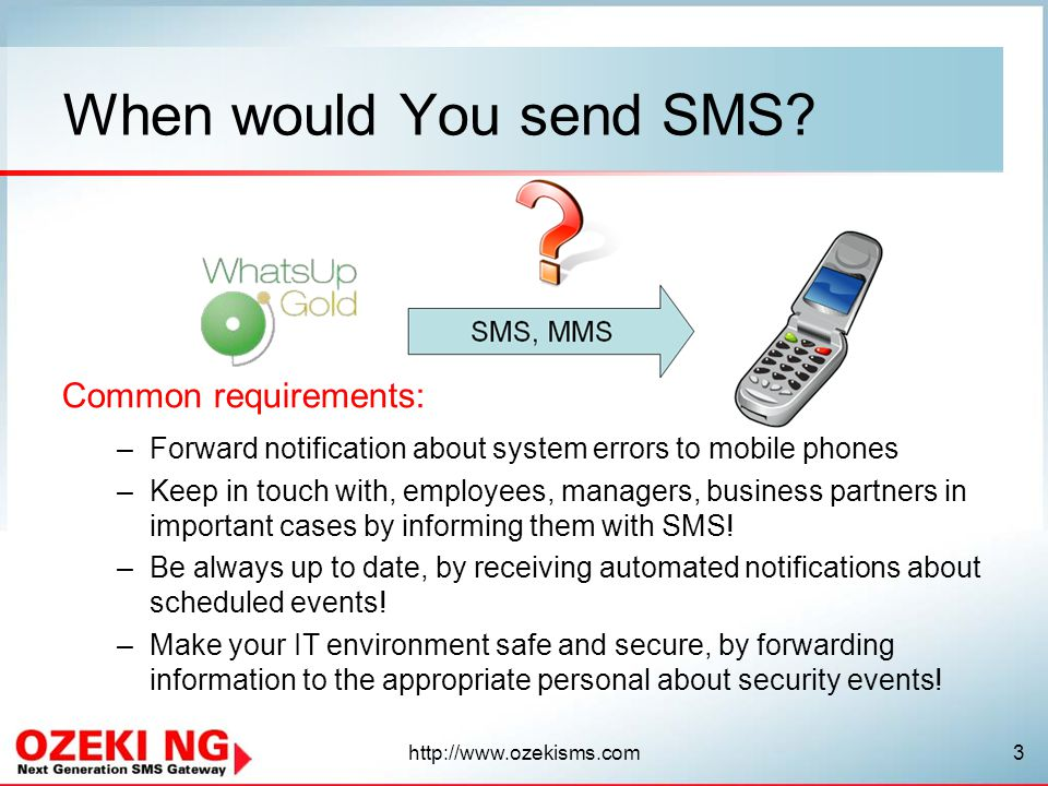 When would You send SMS Common requirements:
