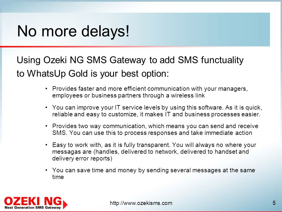 No more delays! Using Ozeki NG SMS Gateway to add SMS functuality