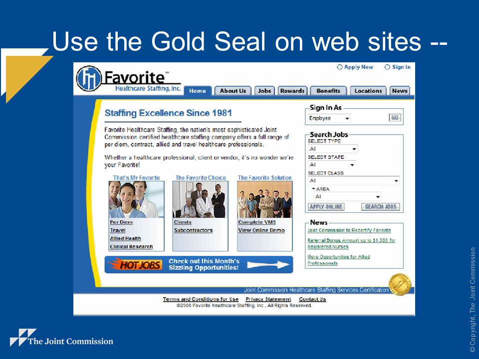 Use the Gold Seal on web sites --
