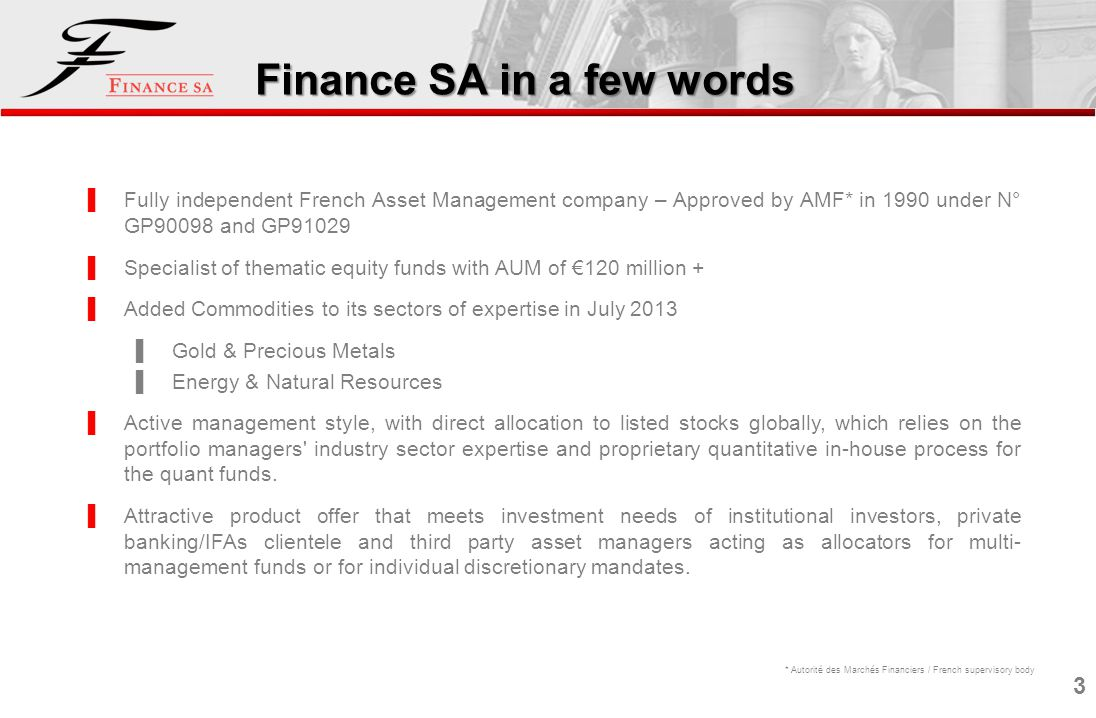 Finance SA in a few words