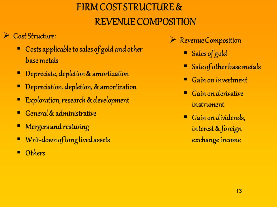 FIRM COST STRUCTURE & REVENUE COMPOSITION