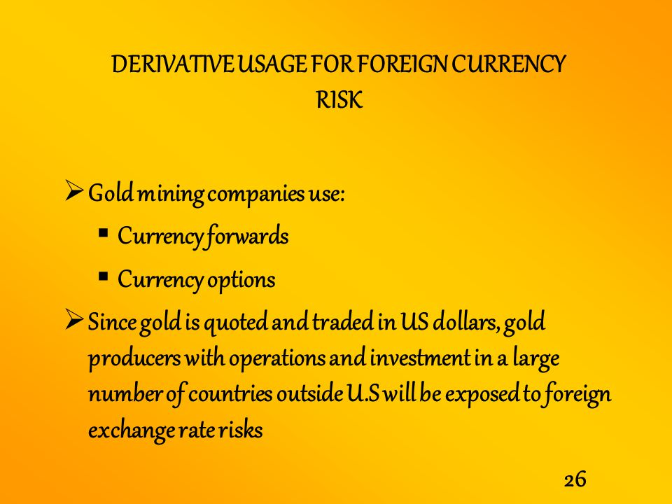 DERIVATIVE USAGE FOR FOREIGN CURRENCY RISK