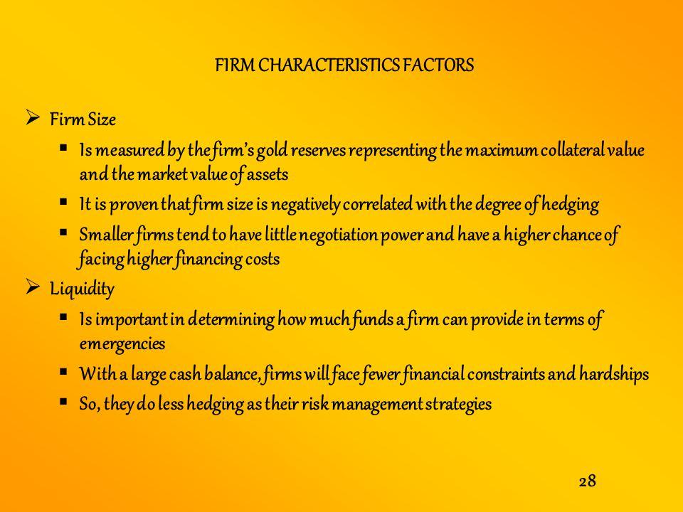 FIRM CHARACTERISTICS FACTORS
