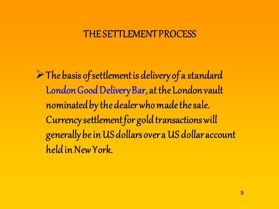 THE SETTLEMENT PROCESS