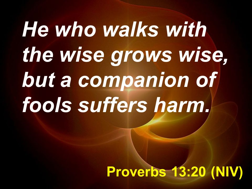 He who walks with the wise grows wise, but a companion of fools suffers harm.