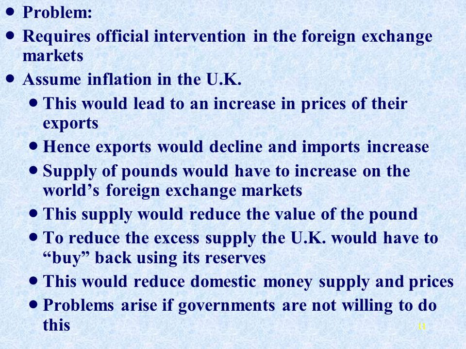 Problem: Requires official intervention in the foreign exchange markets. Assume inflation in the U.K.