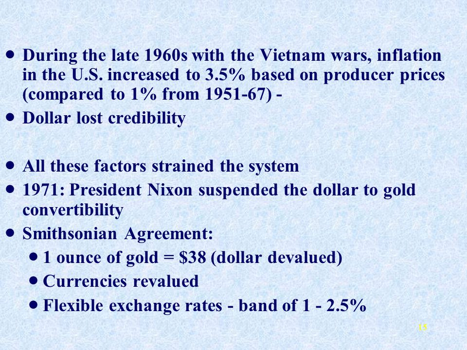 During the late 1960s with the Vietnam wars, inflation in the U. S