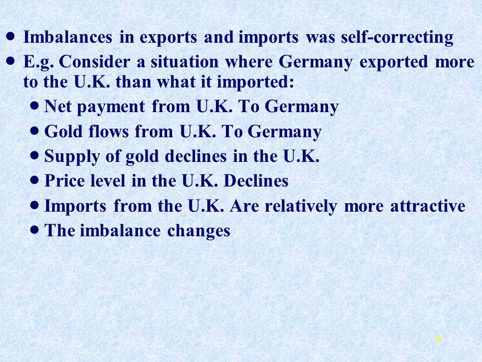 Imbalances in exports and imports was self-correcting