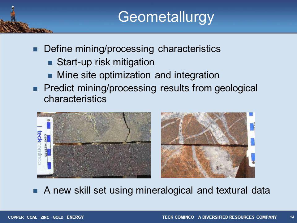 Geometallurgy Define mining/processing characteristics