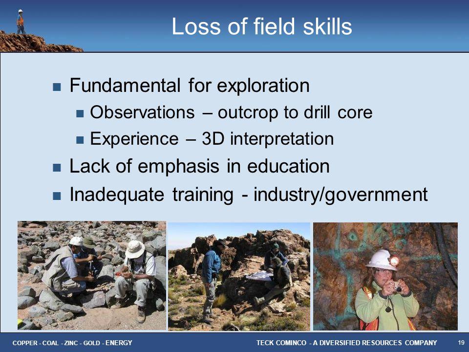 Loss of field skills Fundamental for exploration