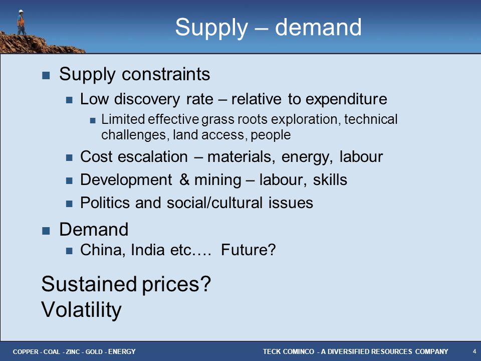 Supply – demand Sustained prices Volatility Supply constraints Demand