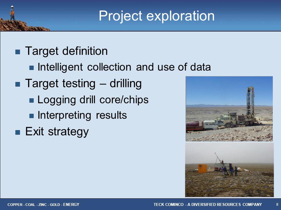 Project exploration Target definition Target testing – drilling