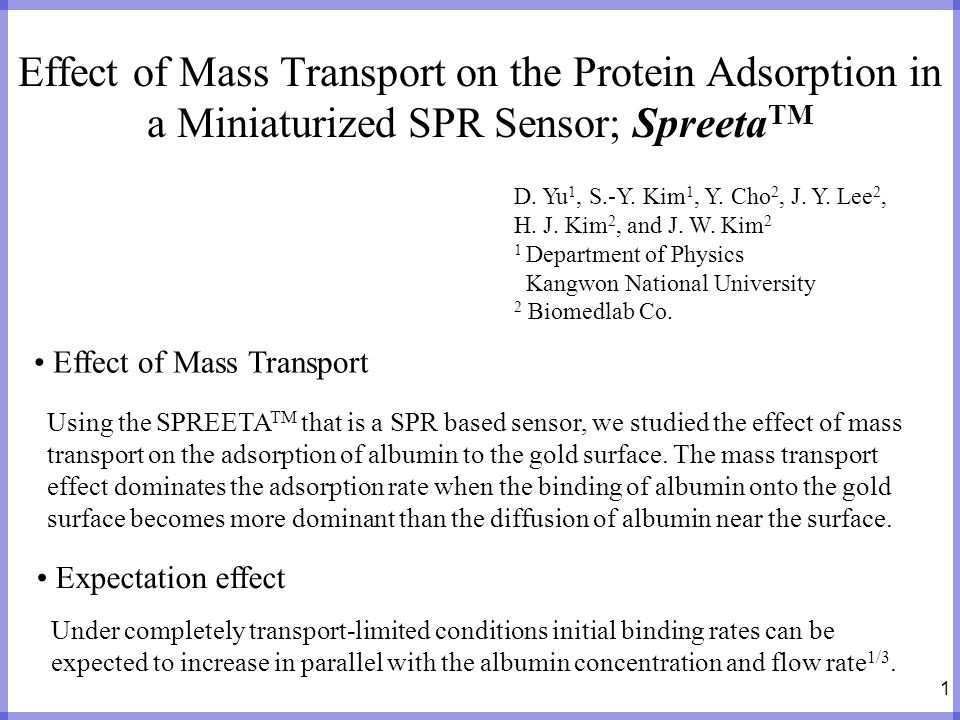 Effect of Mass Transport on the Protein Adsorption in a Miniaturized SPR Sensor; SpreetaTM