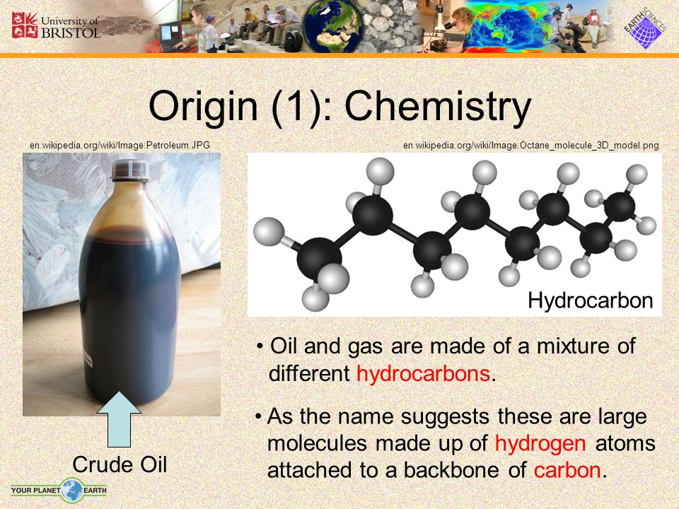 Origin (1): Chemistry Hydrocarbon Oil and gas are made of a mixture of