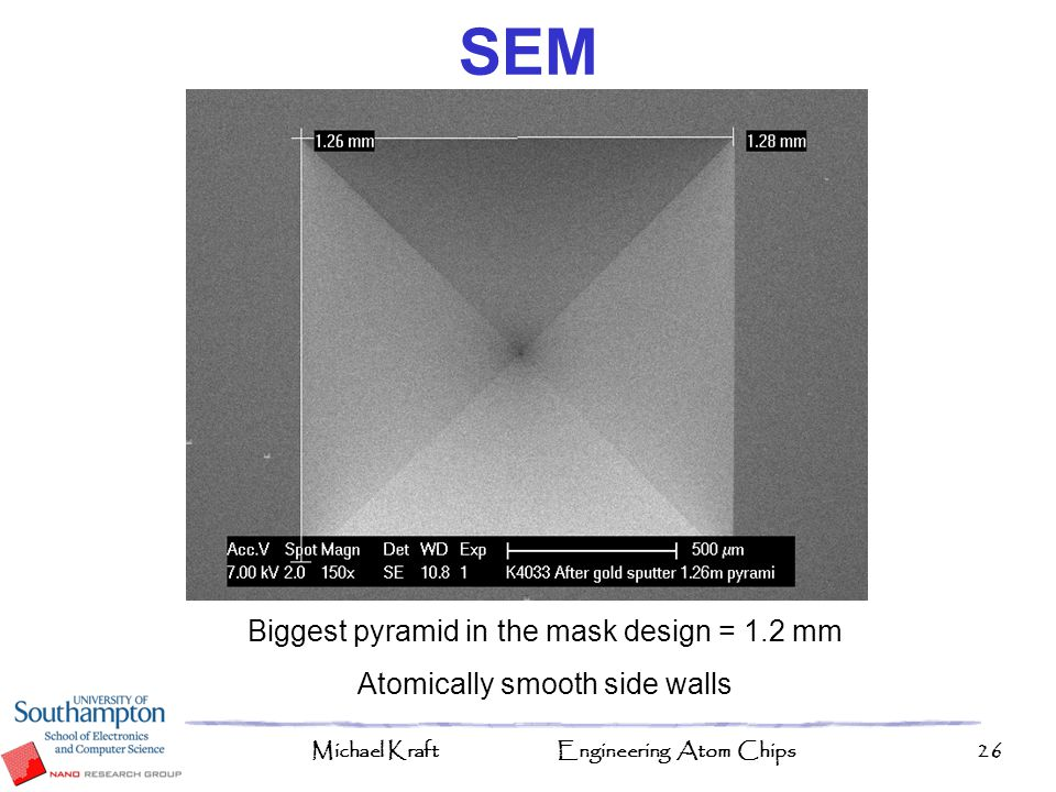 SEM Biggest pyramid in the mask design = 1.2 mm