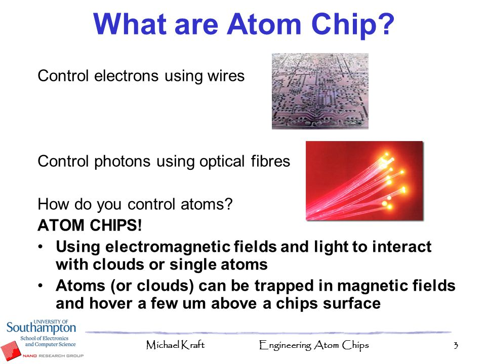 What are Atom Chip Control electrons using wires