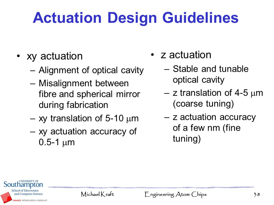 Actuation Design Guidelines