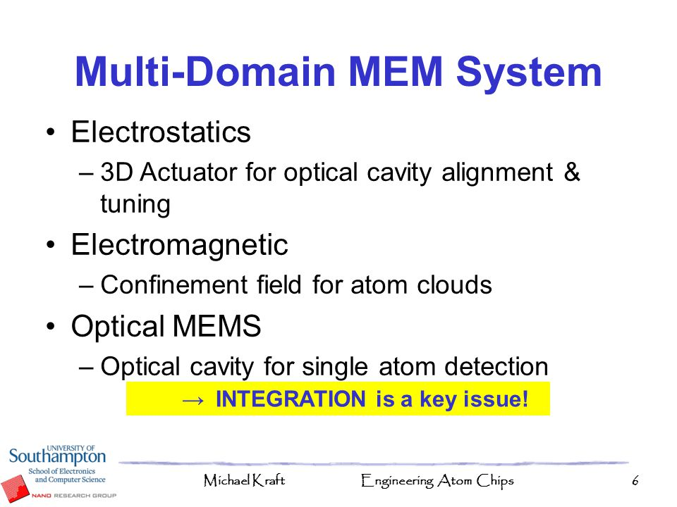 Multi-Domain MEM System → INTEGRATION is a key issue!