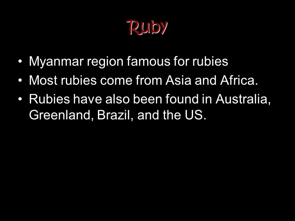 Ruby Myanmar region famous for rubies