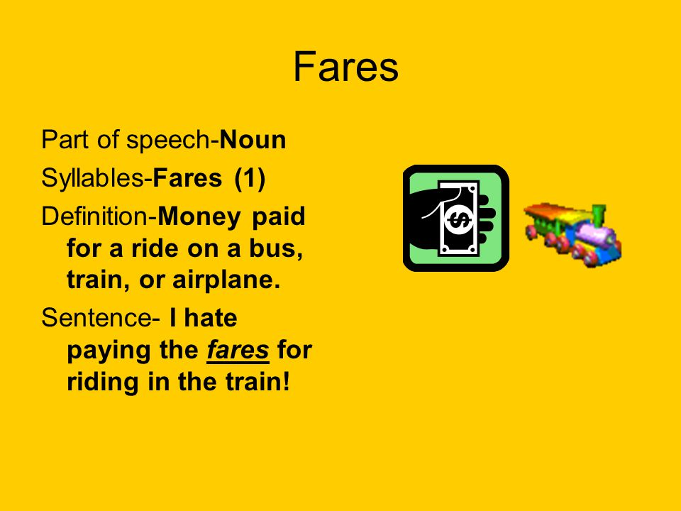 Fares Part of speech-Noun Syllables-Fares (1)