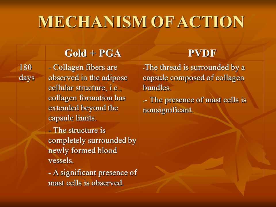 MECHANISM OF ACTION Gold + PGA PVDF 180 days