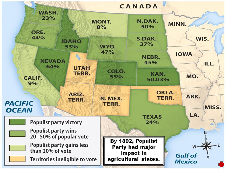 By 1892, Populist Party had major impact in agricultural states.