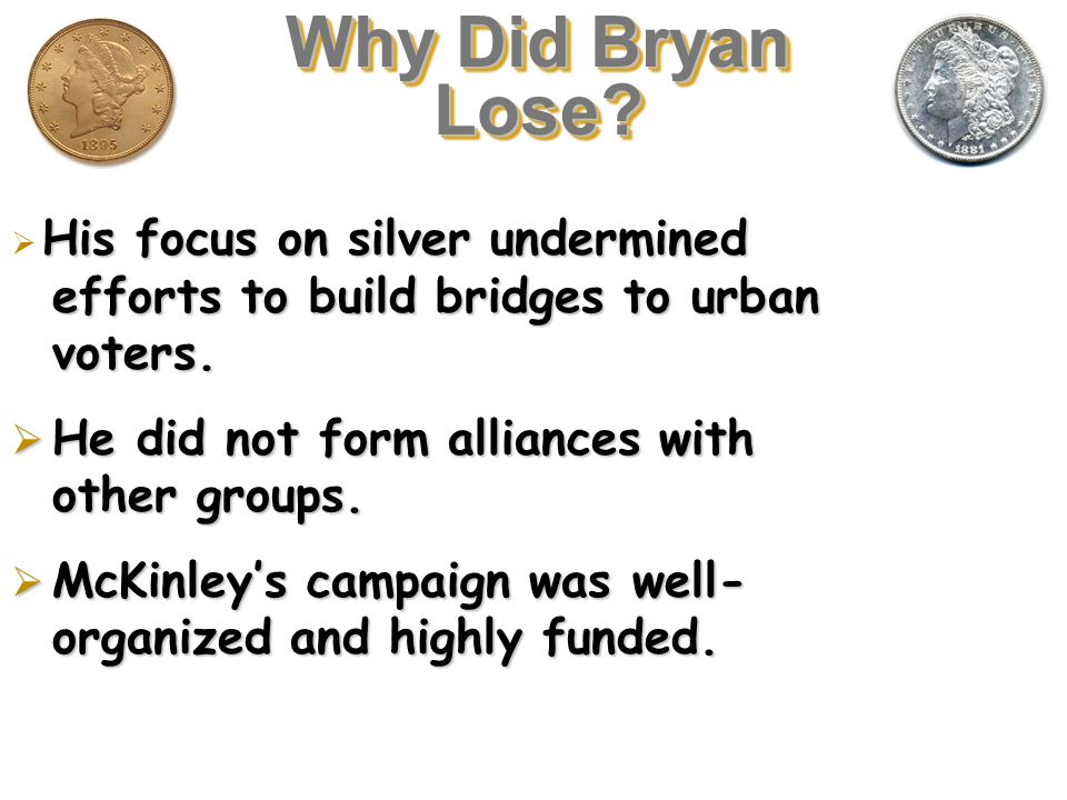 Why Did Bryan Lose He did not form alliances with other groups.
