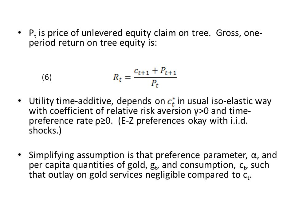 Pt is price of unlevered equity claim on tree