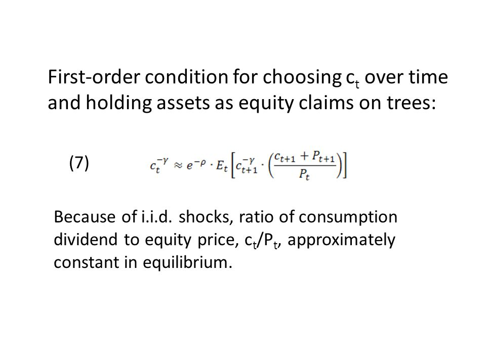 First-order condition for choosing ct over time and holding assets as equity claims on trees: