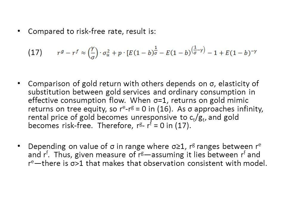 Compared to risk-free rate, result is: