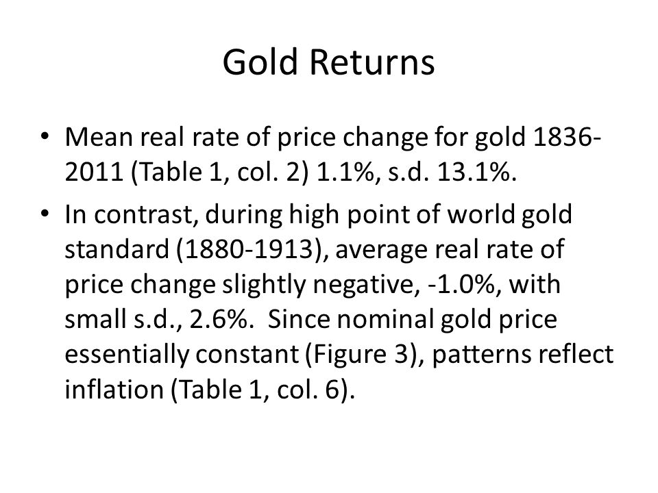Gold Returns Mean real rate of price change for gold 1836-2011 (Table 1, col. 2) 1.1%, s.d. 13.1%.
