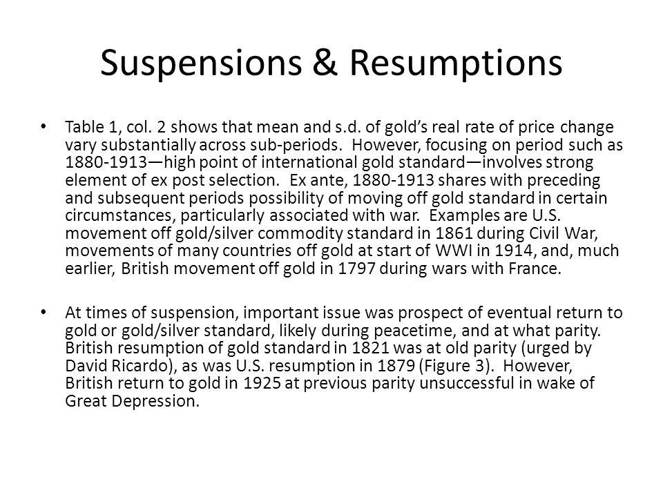 Suspensions & Resumptions