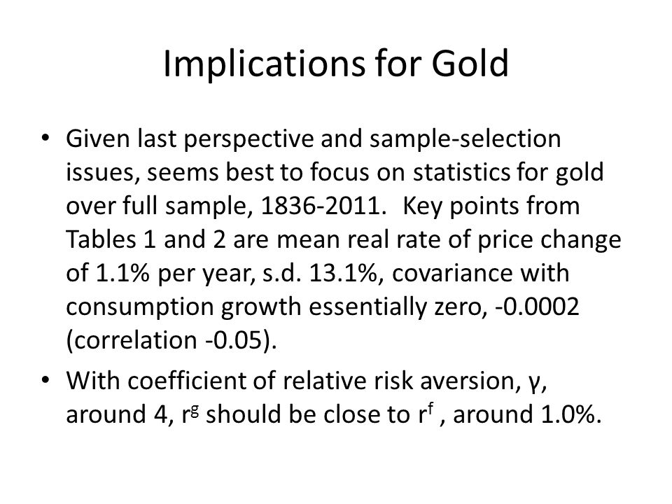 Implications for Gold