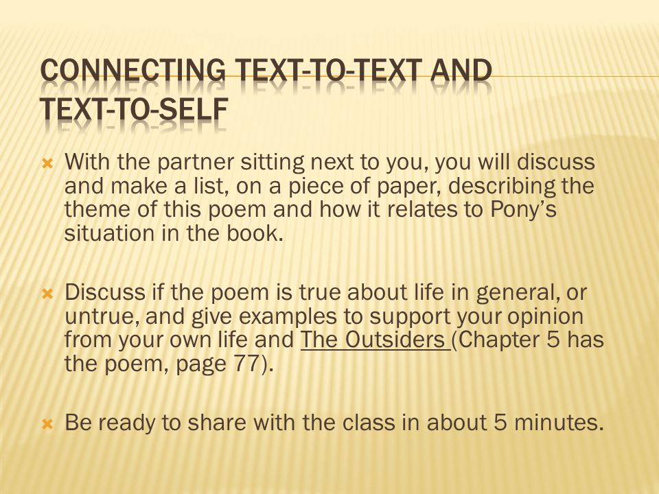 Connecting text-to-text and text-to-self