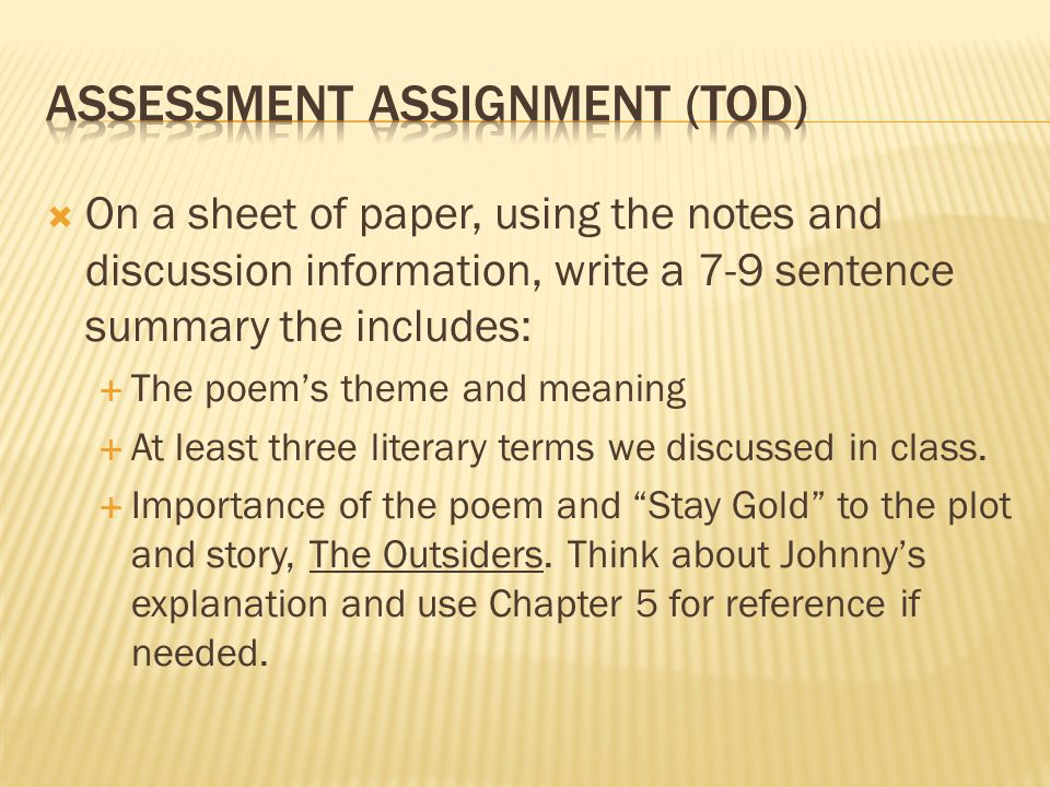 Assessment assignment (TOD)