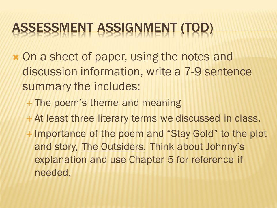 Assessment assignment (TOD)