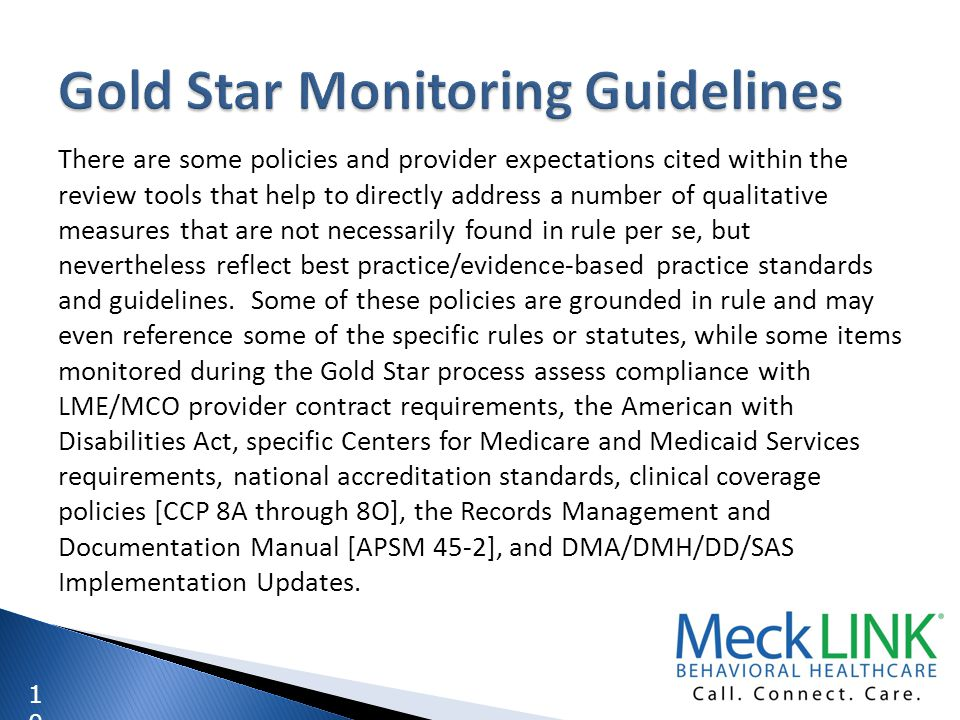Gold Star Monitoring Guidelines
