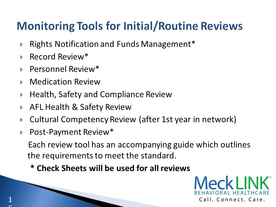 Monitoring Tools for Initial/Routine Reviews
