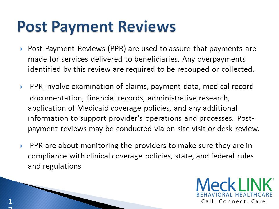 Post Payment Reviews