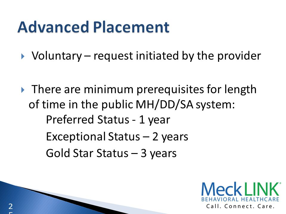 Advanced Placement Voluntary – request initiated by the provider