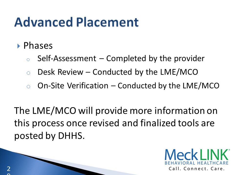 Advanced Placement Phases Desk Review – Conducted by the LME/MCO