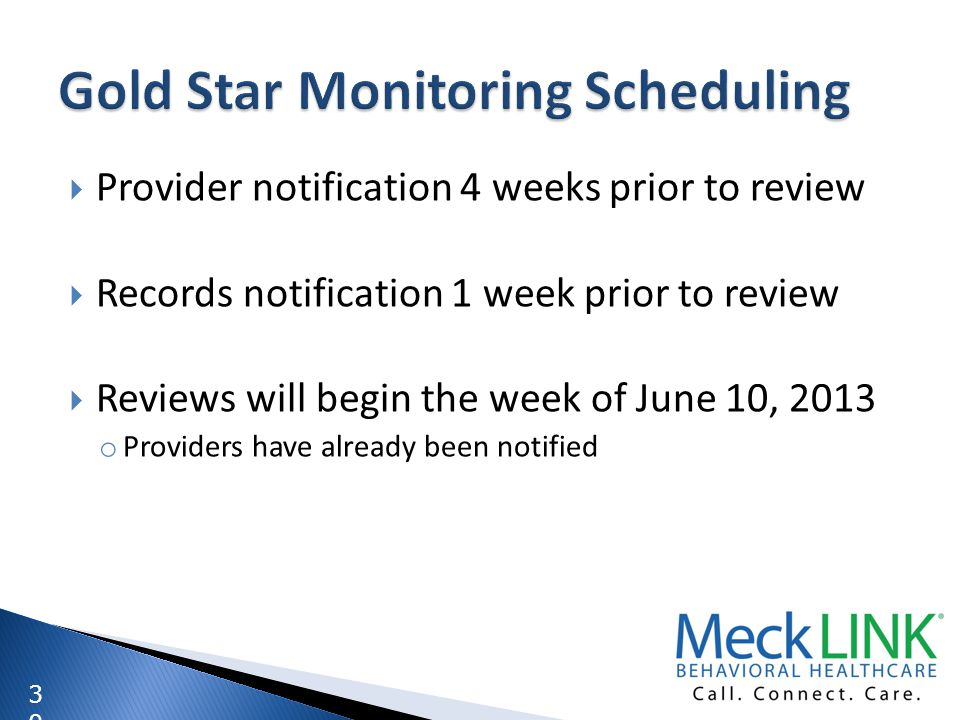 Gold Star Monitoring Scheduling