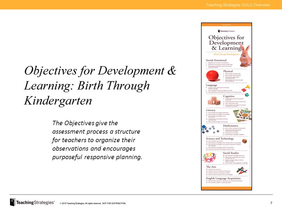 The Objectives give the assessment process a structure for teachers to organize their observations and encourages purposeful responsive planning.