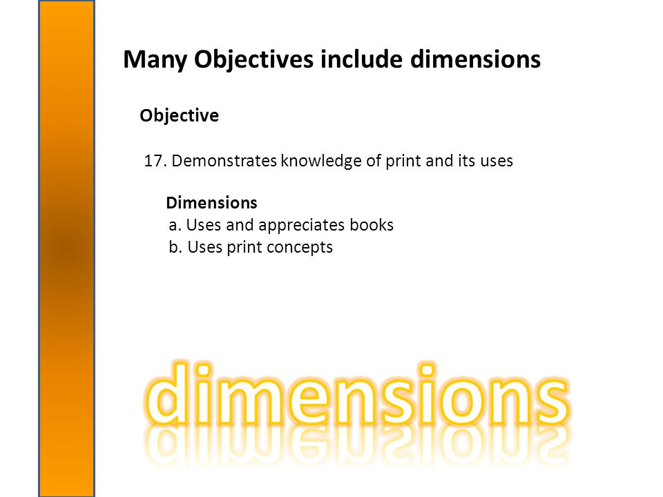 dimensions Many Objectives include dimensions Objective