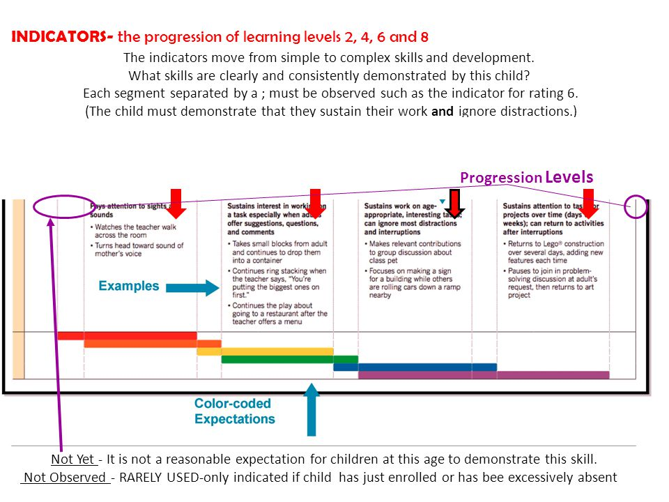 INDICATORS- the progression of learning levels 2,4,6 and 8