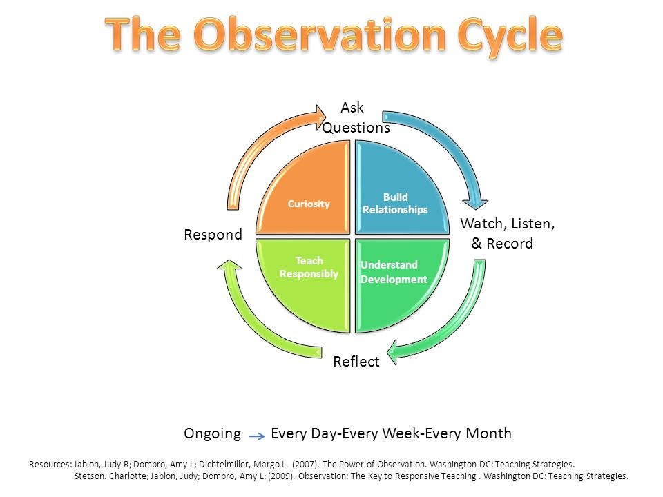 The Observation Cycle Ask Questions Watch, Listen, Respond & Record